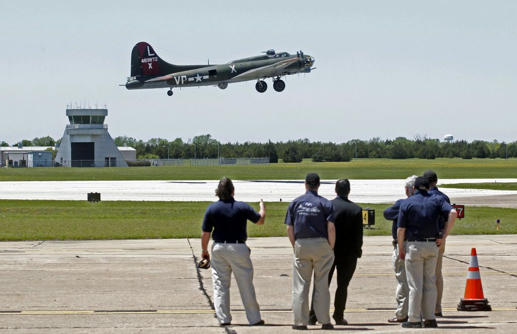 A B17G Bomber takes off  from the Dallas Executive Airport on April 29, 2014.