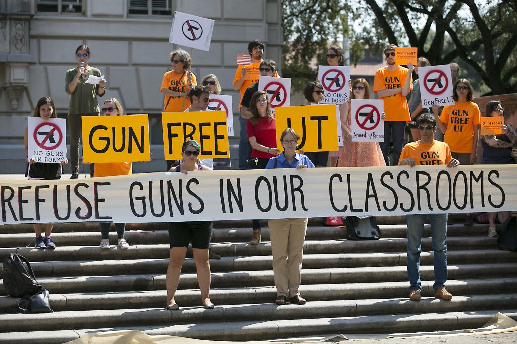 Public universities across Texas are trying to sort out how campus carry will work. While students continue to protest at some schools, such as the University of Texas (above), faculty atthe University of Houston and elsewhere are talking about how toteach in an environment where guns are allowed. (The Associated Press)