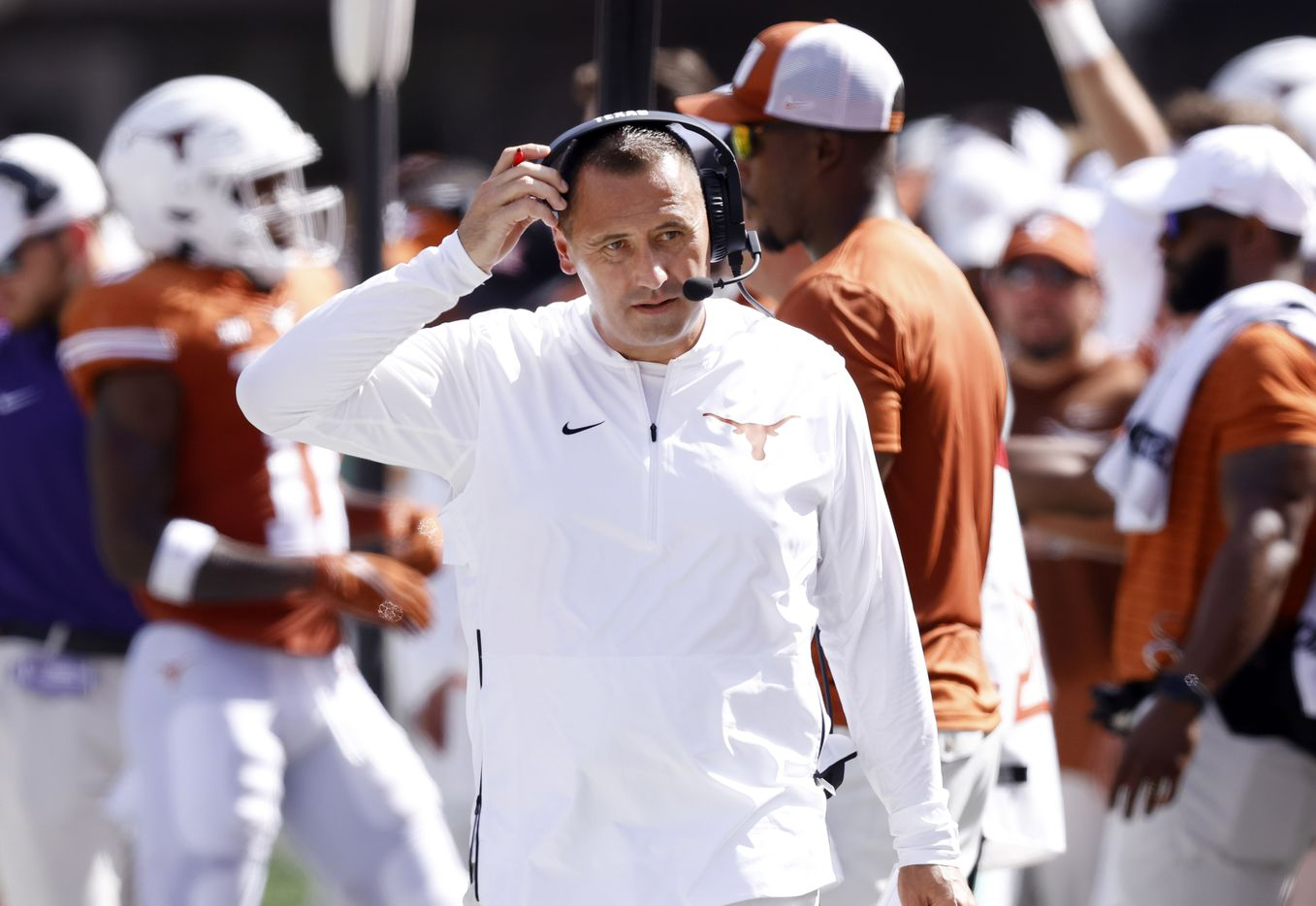 Texas Longhorns head coach Steve Sarkisian paces the sidelines during a first half timeout against the Louisiana-Lafayette Ragin Cajuns at DKR-Texas Memorial Stadium in Austin, Saturday, September 4, 2021. (Tom Fox/The Dallas Morning News)
