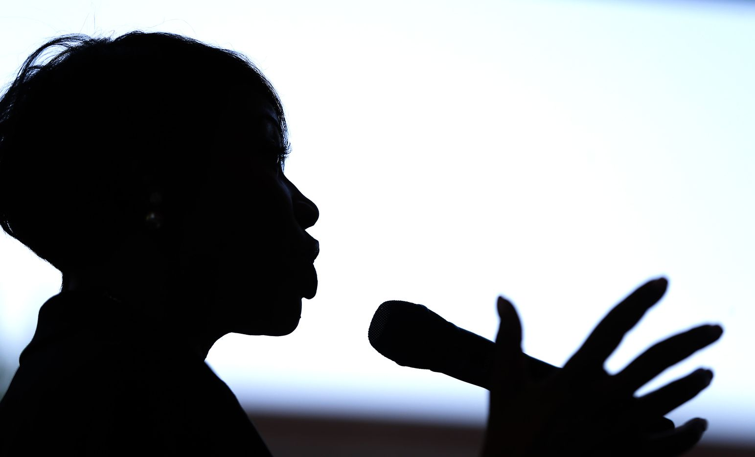 New Dallas Police Chief U. Renee Hall is silhouetted while she speaks to the crowd during a meet-and-greet reception Monday in Dallas.
