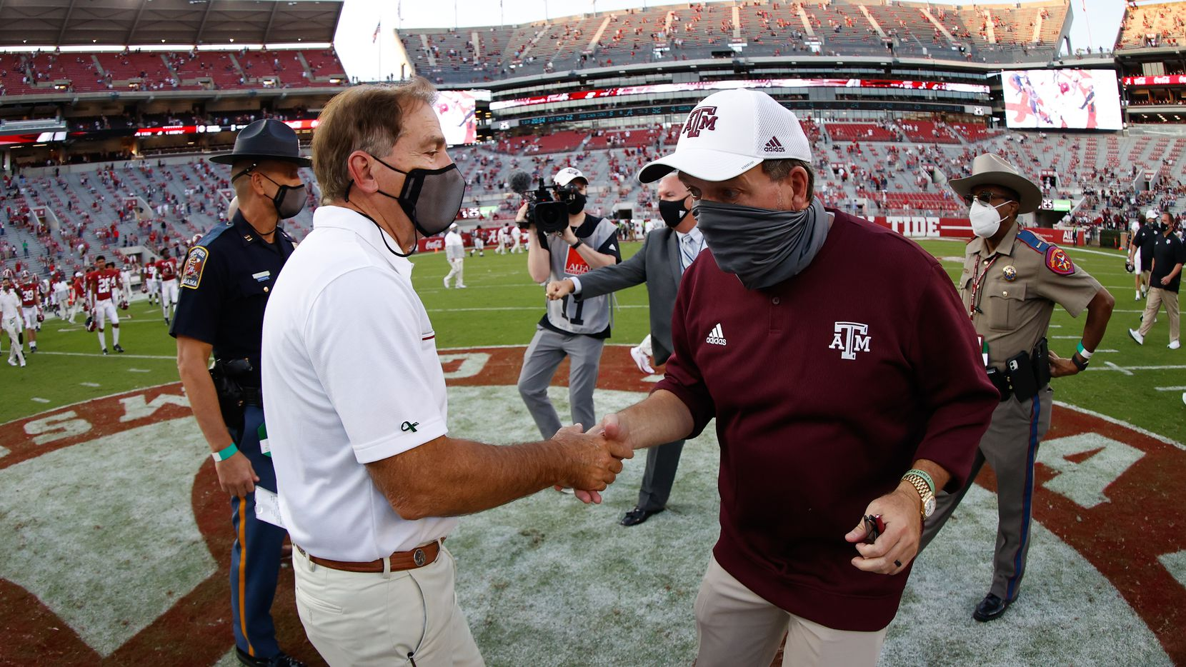 TUSCALOOSA, AL - OCTOBER 3: Nick Saban of the Alabama Crimson Tide shakes hands with Jimbo Fisher of the Texas A&M Aggies after the game on October 3, 2020 at Bryant-Denny Stadium in Tuscaloosa, Alabama.