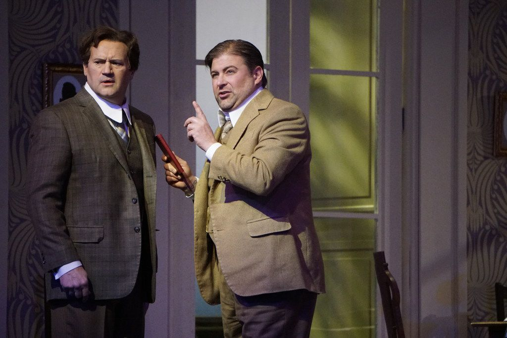 Paul Groves as Wilhelm Arndt and Craig Colclough as Peter Vogel, in the Dallas Opera dress rehearsal of Erich Wolfgang Korngold's The Ring of Polykrates, at the Winspear Opera House in Dallas.