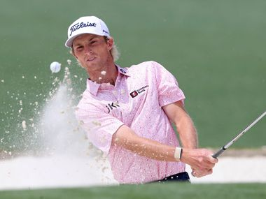 Will Zalatoris hits out of the bunker on the second green during the final round of the Masters golf tournament at Augusta National, Sunday, April 11, 2021, in Augusta, Ga.