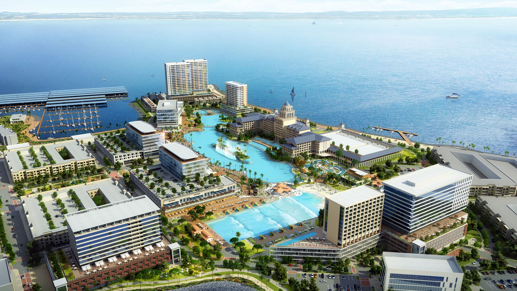 A new developer, Sapphire Bay Land Development, unveiled plans Thursday, Aug. 8, for a $1 billion lakefront development in Rowlett. It will include a 6.5-acre Crystal Lagoon,  a surf and beach club, and a 500-room resort hotel and conference center.
