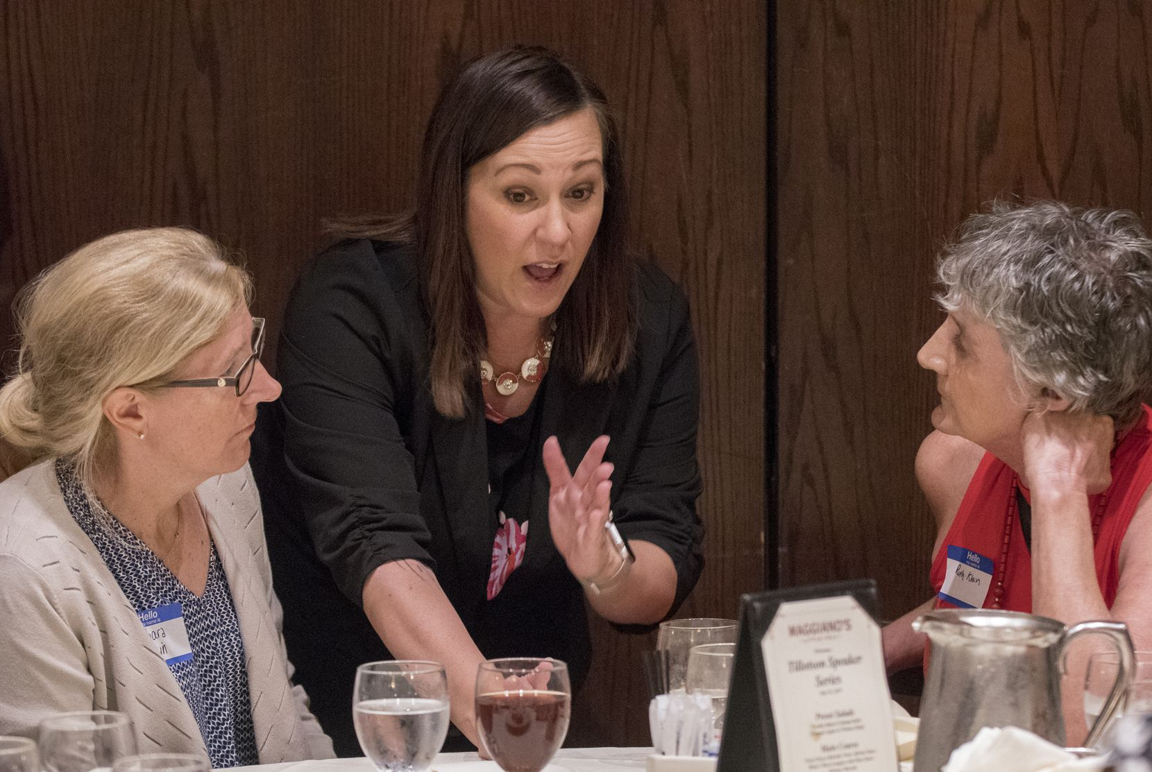 U.S. Senate candidate MJ Hegar speaks with attendees at the Dallas County Democratic Party luncheon where she was a guest speaker on July 24, 2019 at Maggiano's Little Italy restaurant at Northpark Center in Dallas, Texas. (Robert W. Hart/Special Contributor)
