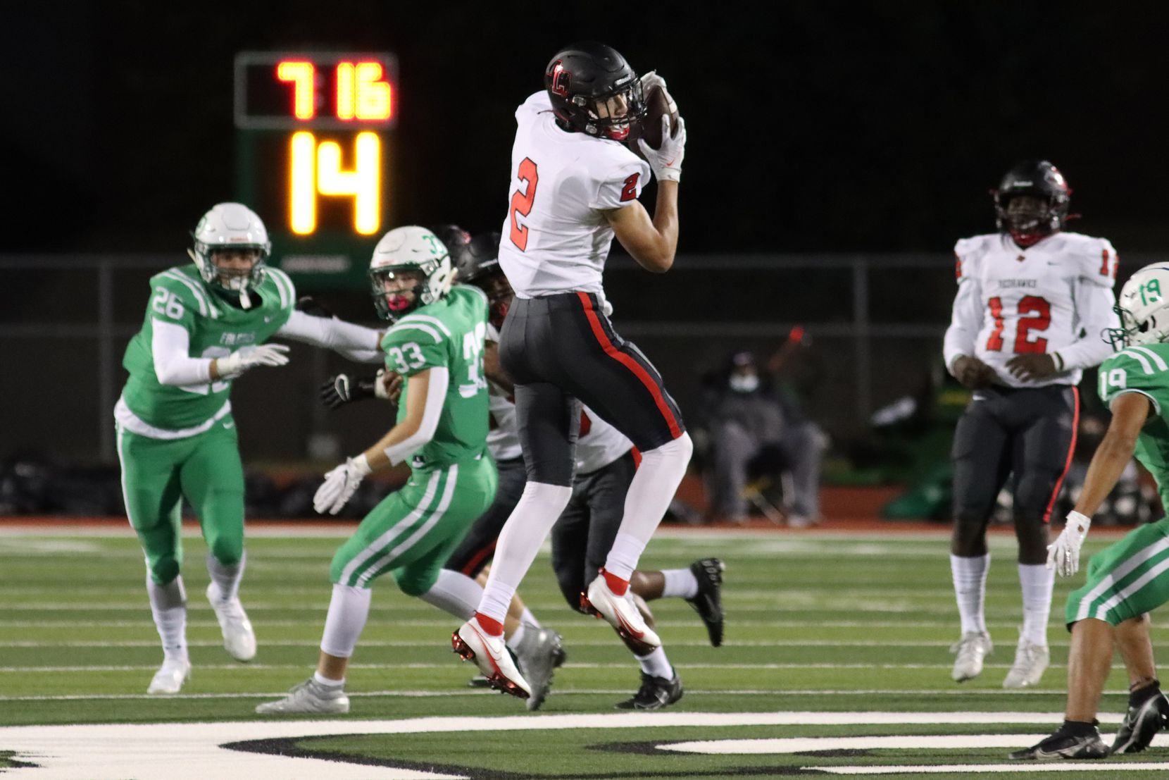 Frisco Liberty wide receiver Connor Hulstein (5) makes a catch during the first half against Lake Dallas at Falcon Stadium in Corinth, Texas Friday, October 23, 2020. (Elias Valverde II / Special Contributor)