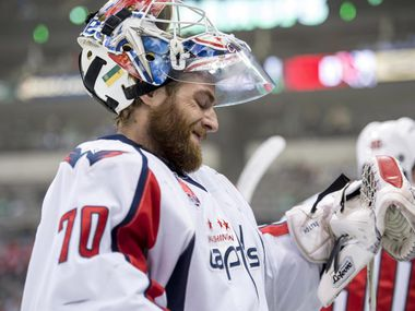 Jan 17, 2015; Dallas, TX, USA; Washington Capitals goalie Braden Holtby (70) skates in warm-ups prior to the game against against the Dallas Stars at the American Airlines Center.