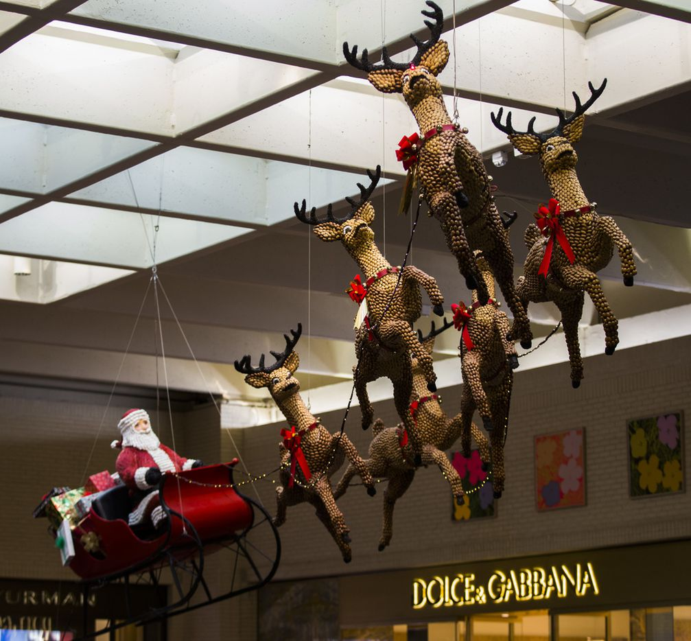 Santa and reindeer made of pecans, almonds and raisins is an original holiday decoration from the first year that NorthPark Center was opened in 1965.