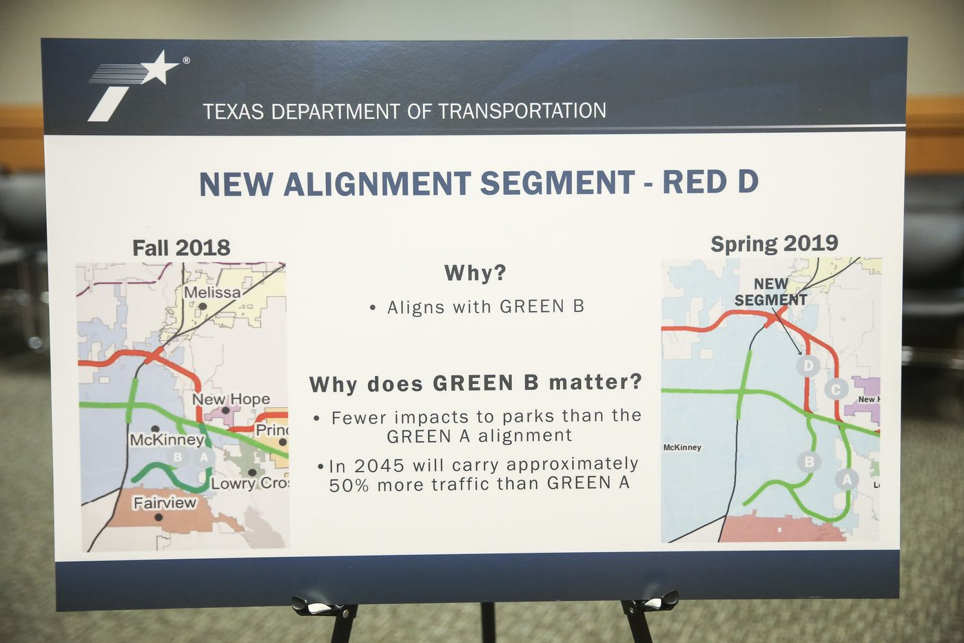 A graphic displayed during a Texas Department of Transportation open house to display new U.S. 380 alignment maps Thursday, March 21, 2019 at the Russell A. Steindam Courts Building in McKinney.