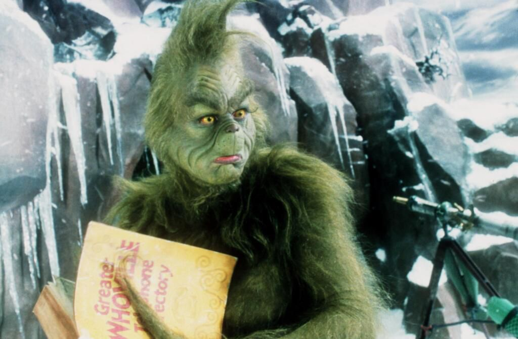 "Jim Carrey es el Grinch en ""How the Grinch Stole Christmas"", basado en un cuento del Dr. Seuss."