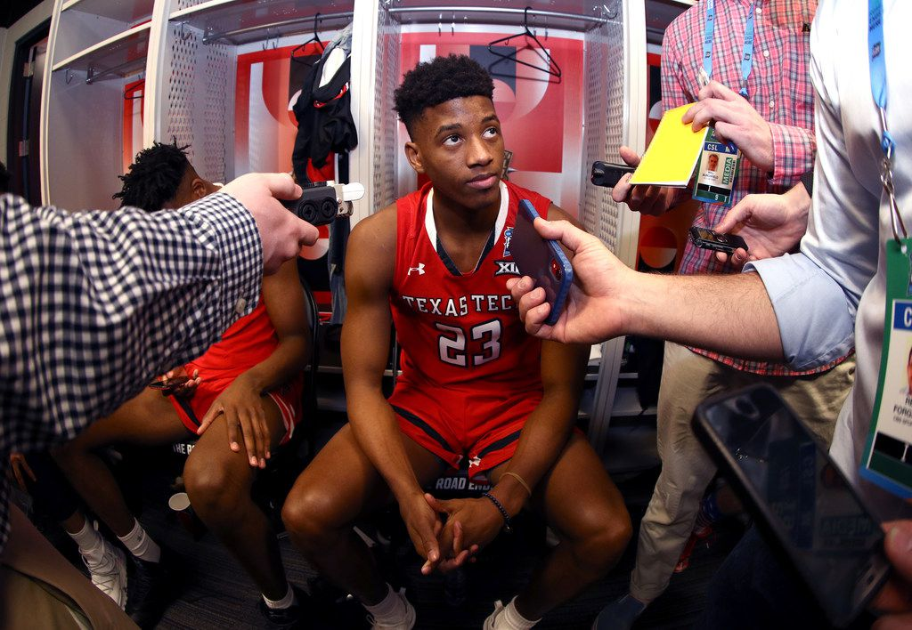 MINNEAPOLIS, MINNESOTA - APRIL 04: Jarrett Culver #23 of the Texas Tech Red Raiders speaks to the media in the locker room prior to the 2019 NCAA Tournament Final Four at U.S. Bank Stadium on April 4, 2019 in Minneapolis, Minnesota. (Photo by Mike Lawrie/Getty Images)