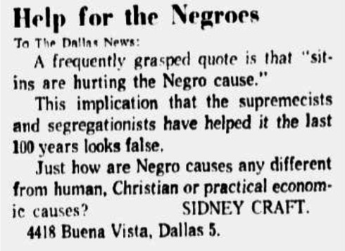 Letter published in the Jan. 9, 1961 edition of The Dallas Morning News on the same day of the SMU protest.