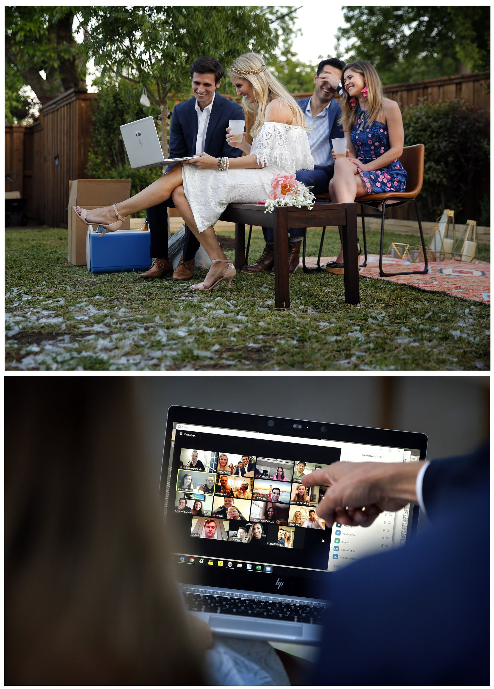 After their backyard wedding, the Houshians joined extended family and friends on a video chat as they drank champagne. Joining them was the officiate and close friend, Kayvon Rashidi, and his girlfriend, Ashley Morgan.