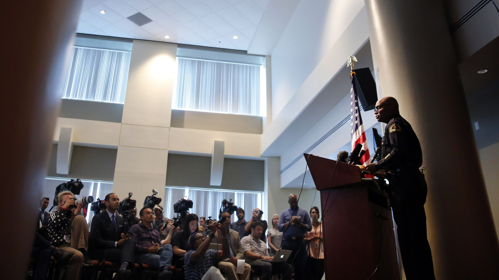 Dallas police chief David Brown answers questions about last week's shooting of his officers during a press conference at police headquarters in Dallas, Monday, July 11, 2016. (Tom Fox/The Dallas Morning News)