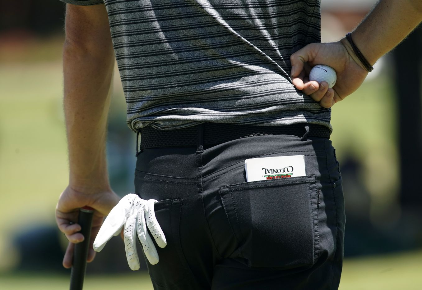 PGA Tour golfer Rory McIlroy kept his notes in a Colonial County Club note book as he waits to putt on No. 9 during the second round of the Charles Schwab Challenge at the Colonial Country Club in Fort Worth, Friday, June 12, 2020.  The Challenge is the first tour event since the COVID-19 pandemic began. (Tom Fox/The Dallas Morning News)