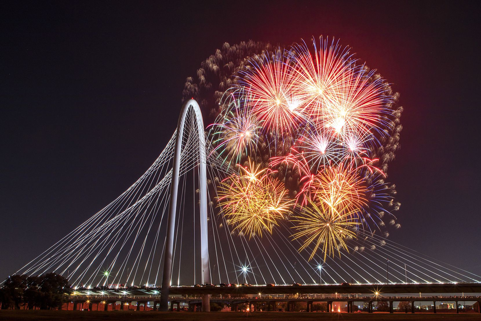 Fireworks exploded over the Margaret Hunt Hill Bridge in July 2018.