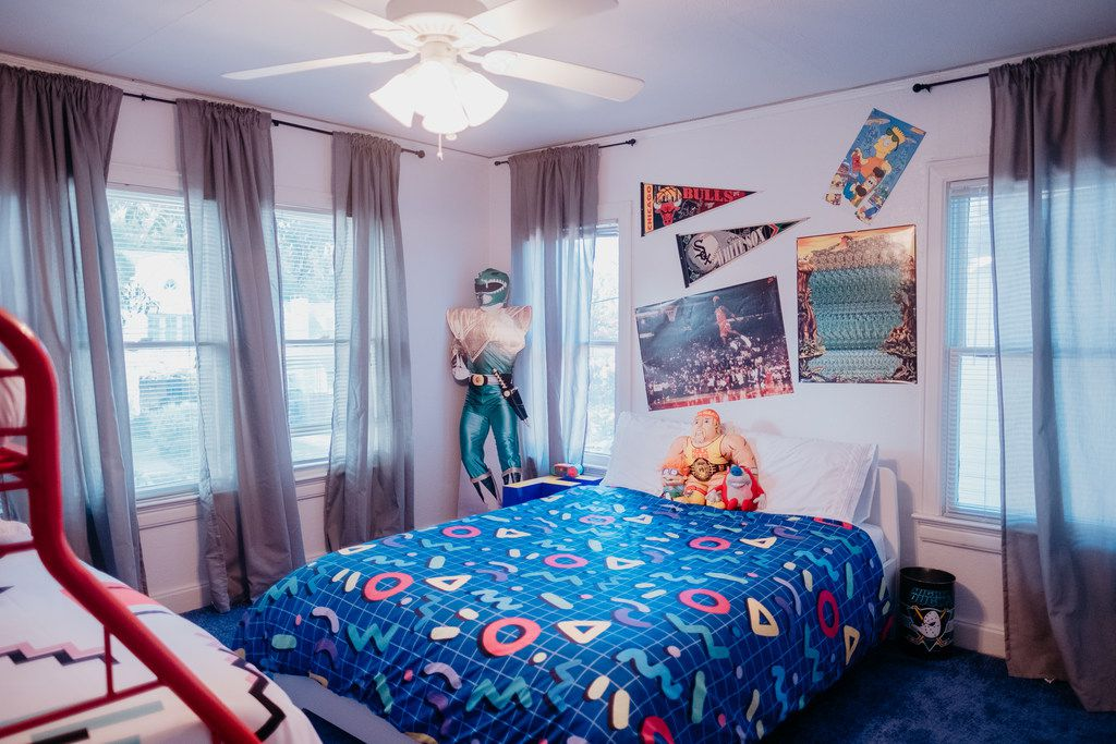 A life-size Power Rangers cutout keeps watch over the second bedroom at The Slater in Lower Greenville.