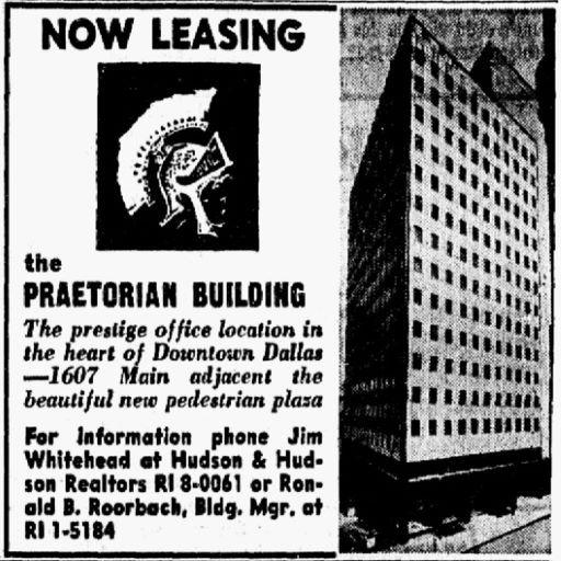 Advertisement for the remodeled Praetorian Building. Published Nov. 15, 1966.