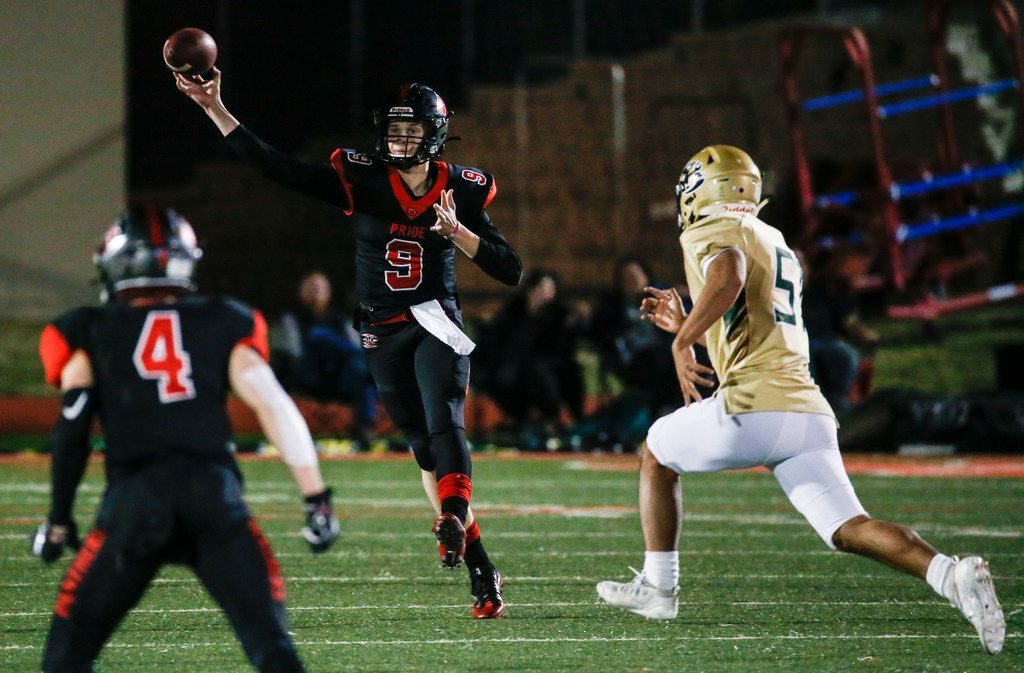Colleyville Heritage quarterback AJ Smith (9) fires off a pass away from Birdville linebacker John Nguyen (57) during the first quarter of a high school football game between Colleyville Heritage and Birdville at Mustang-Panther Stadium on Friday, Nov. 1, 2019 in Grapevine, Texas. (Ryan Michalesko/The Dallas Morning News)