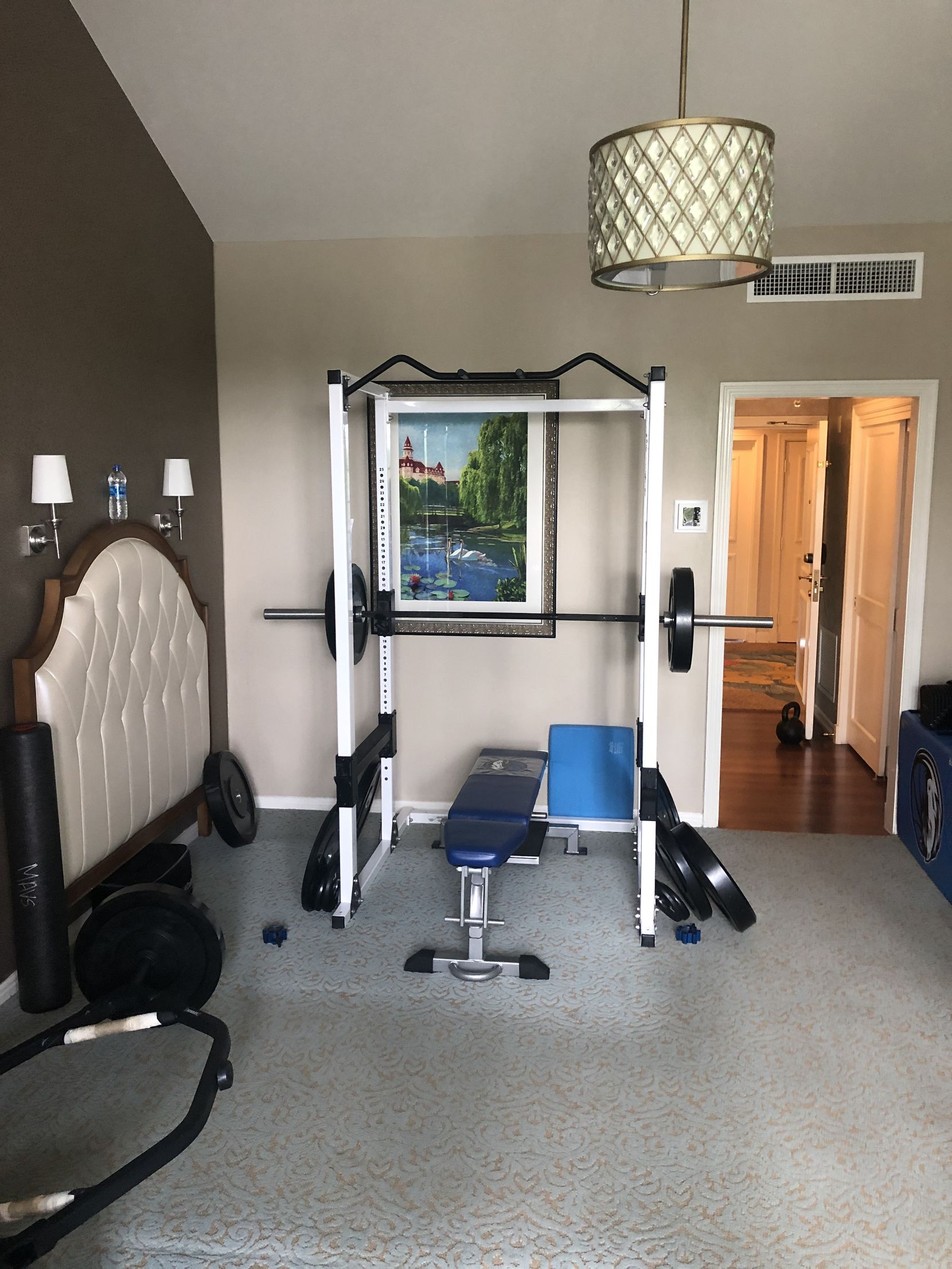 One of the two 400-square-foot guest rooms at the Grand Floridian that the Mavericks converted into workout rooms by clearing out all of the furniture.