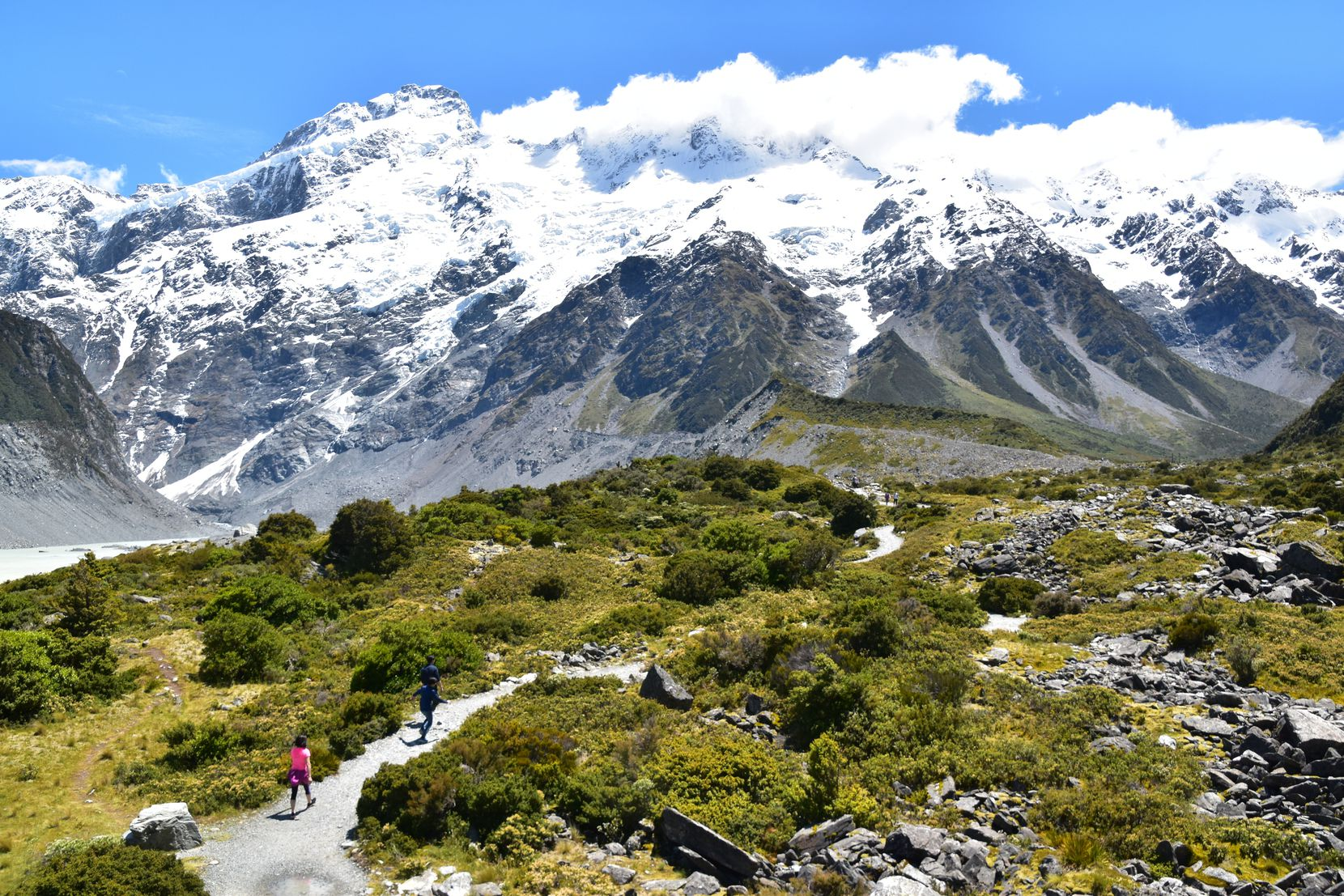 A trail leads to the base of the Hooker Glacier at the bottom of Mount Cook, New Zealand's tallest mountain.