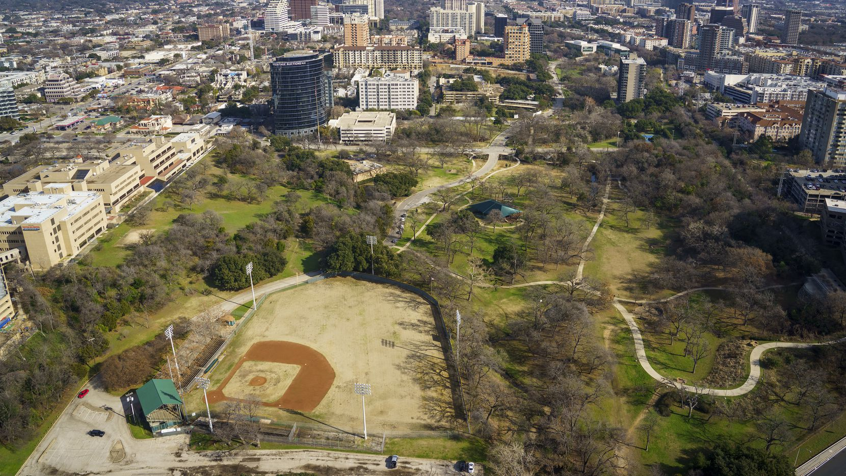 An aerial view from January of Reverchon Park and its century-old baseball field. The Dallas City Council will vote Oct. 28 to rescind the Donnie Nelson-led effort to rebuild and operate the ballfield after the group missed an extended fundraising deadline.