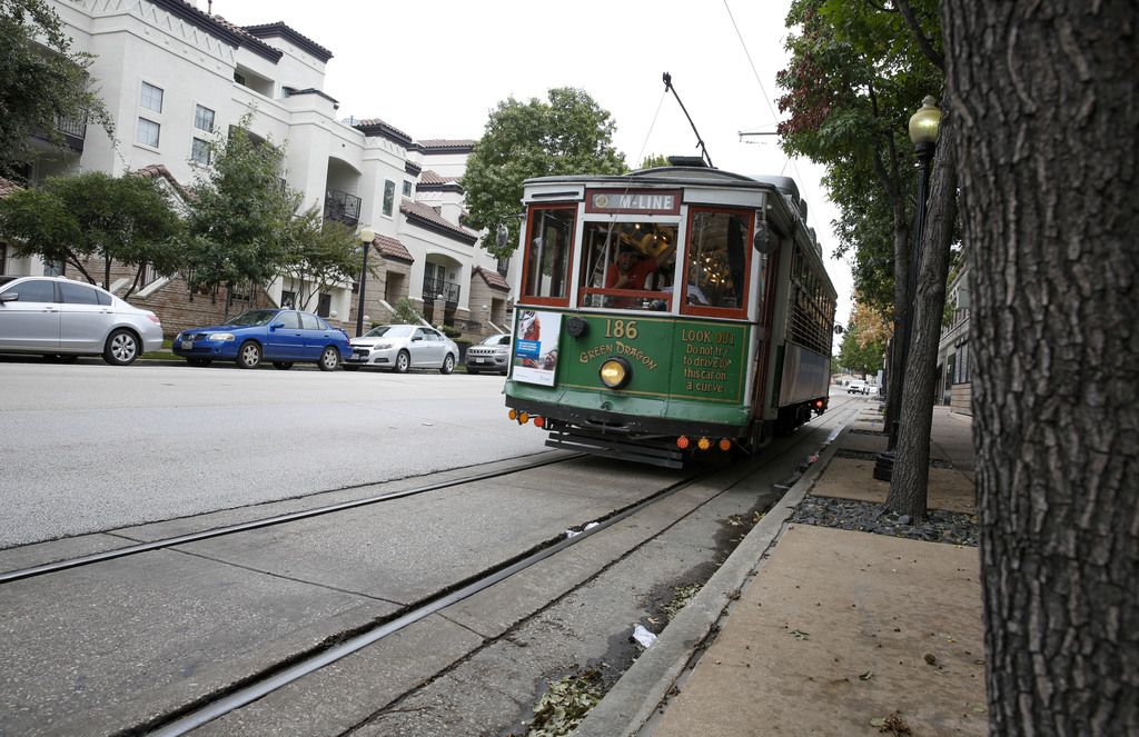 The M-Line trolley goes down Cole Ave right by the West Village in Dallas.  (Brian Elledge/Staff Photographer)