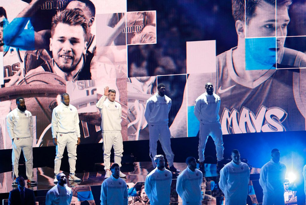 The Dallas Mavericks' Luka Doncic is introduced at the NBA All-Star Game at United Center in Chicago on Sunday, Feb. 16, 2020.
