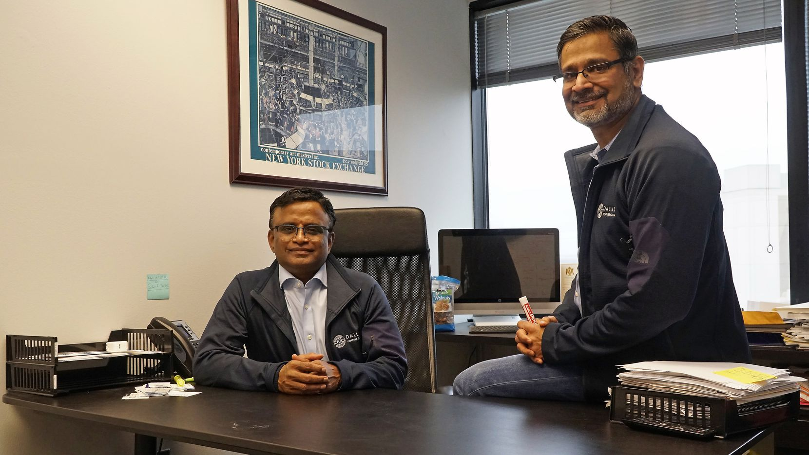 Dayakar Puskoor (left) and Abidali Neemuchwala, at their office in Irving, launched Dallas Venture Capital in September.