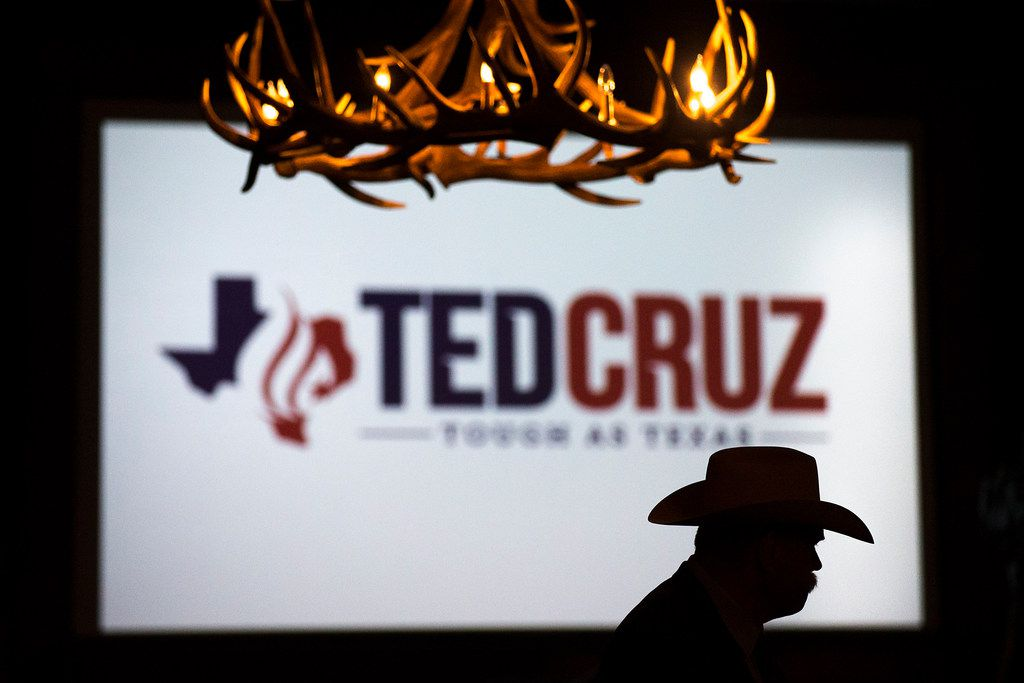 Tarrant County Sheriff Bill Waybourn is silhouetted against a screen during a campaign event for  Sen. Ted Cruz at River Ranch Stockyards on Wednesday, April 4, 2018, in Fort Worth, Texas.
