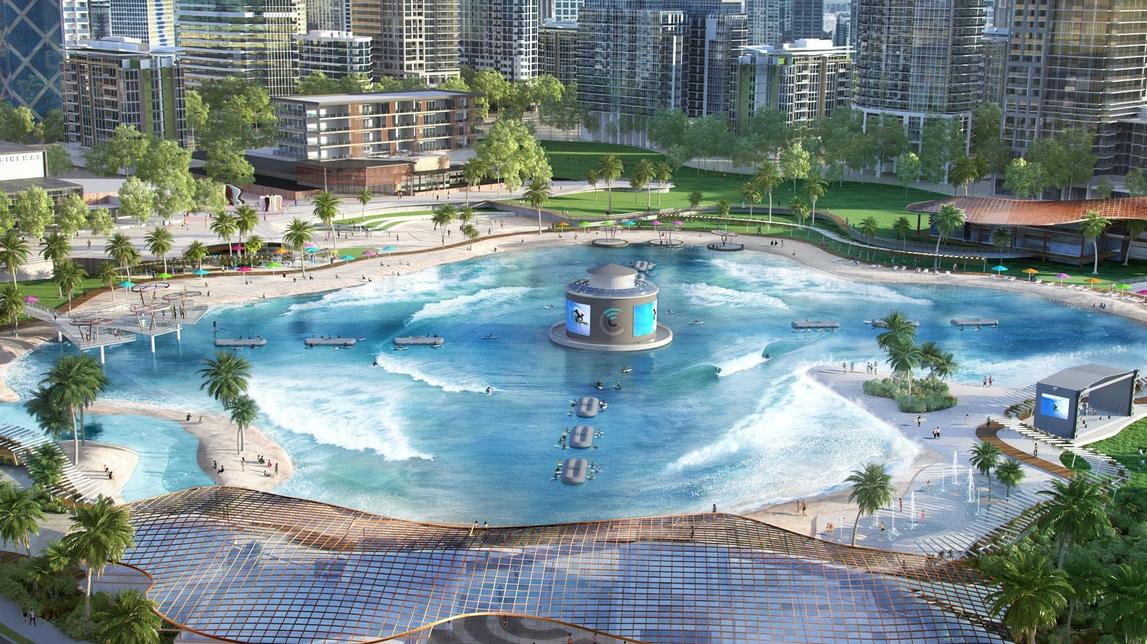An artist's rendering of a Surf Lakes wave pool built as part of a resort.