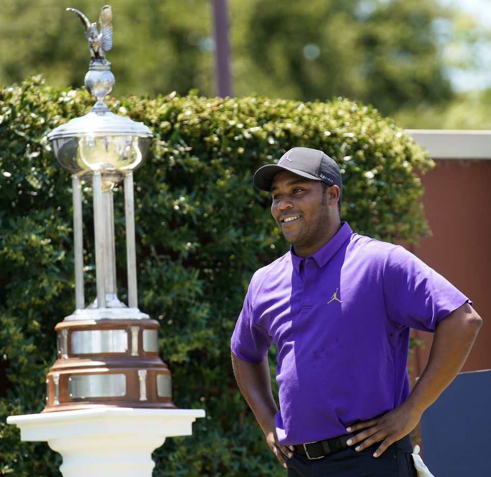PGA Tour golfer Harold Varner III flashes a smile before starting his third round of the Charles Schwab Challenge at the Colonial Country Club in Fort Worth, Saturday, June 13, 2020.  The Challenge is the first tour event since the COVID-19 pandemic began. (Tom Fox/The Dallas Morning News)