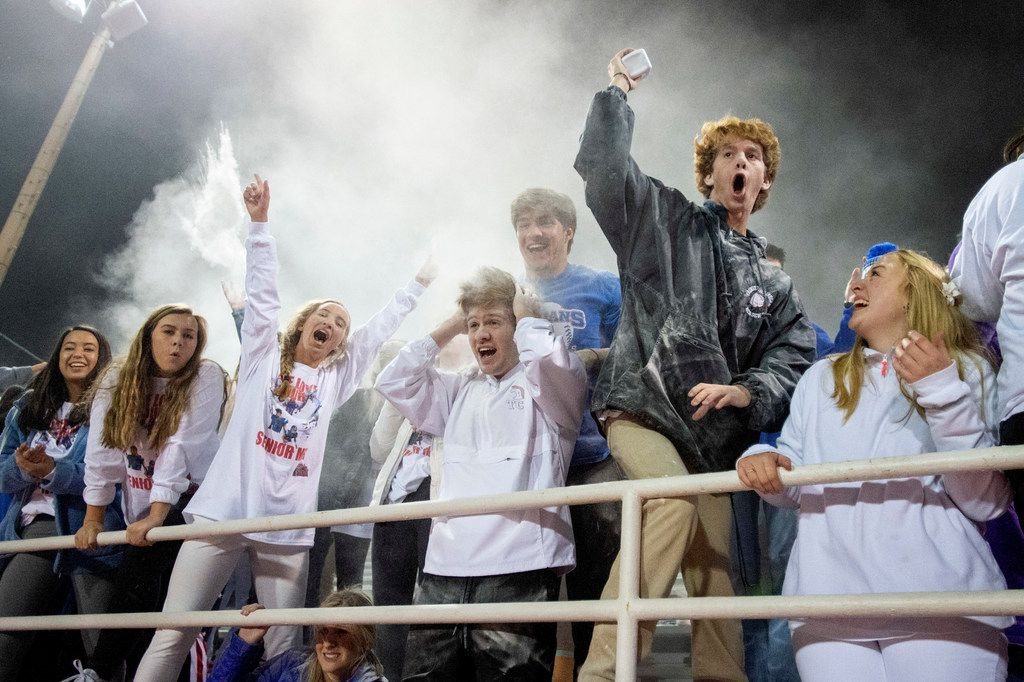 TCA-Addison students toss baby powder in the air during the second half of a high school football game against Fort Worth Nolan on Friday, November 8, 2019 at Tom Landry Stadium in Addison, Texas. Nolan won 27-19. (Jeffrey McWhorter/Special Contributor)