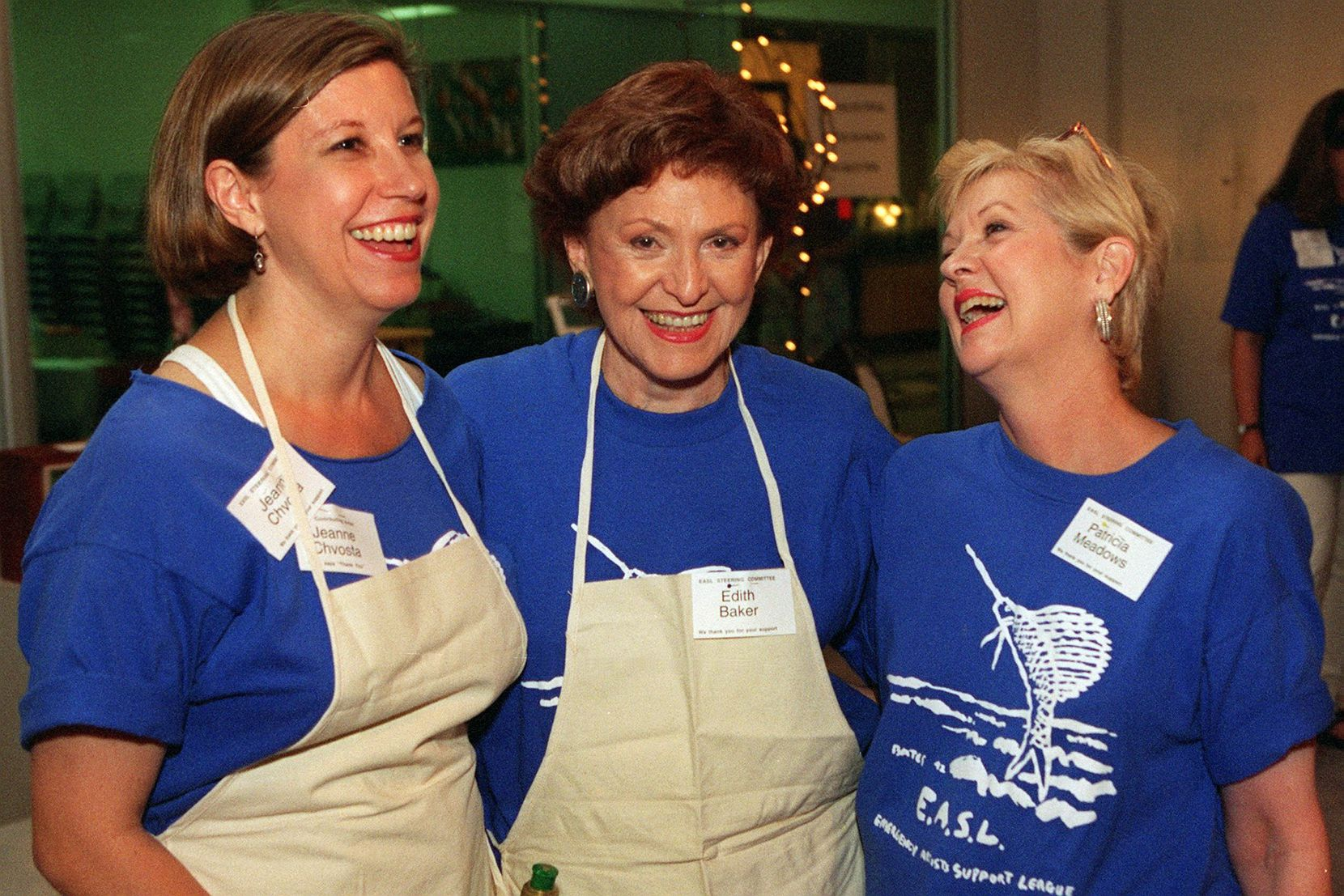 Jeanne Chvosta, Edith Baker and Patricia Meadows at the EASL Party being held in the Dallas Design District in 1997.
