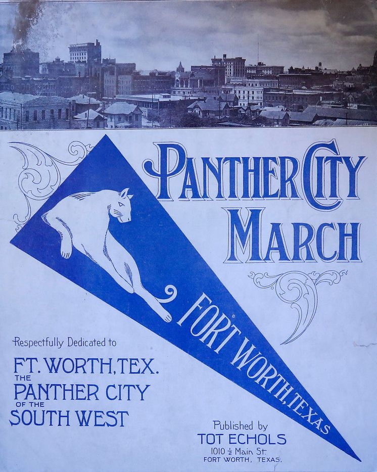 """A copy of """"Panther City March,"""" a piano piece written in 1914 that Tarrant County historian Larry Schuessler owns at his home in Fort Worth."""