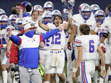 Austin Westlake head coach Todd Dodge hugs quarterback Cade Klubnik (6) as time expires on their 52-34 victory over Southlake Carroll in the Class 6A Division I state football championship game at AT&T Stadium on Saturday, Jan. 16, 2021, in Arlington, Texas.