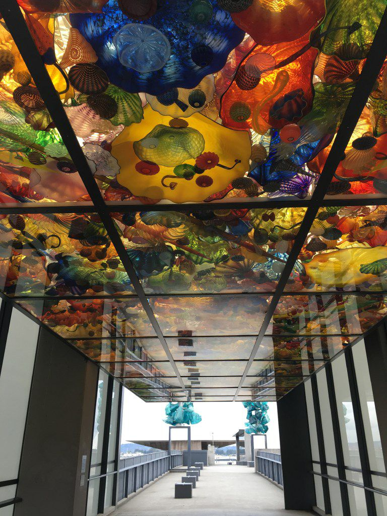 Tacoma's Bridge of Glass: Seaform Pavilion has more than 2,000 vividly colored glass pieces suspended in the ceiling.