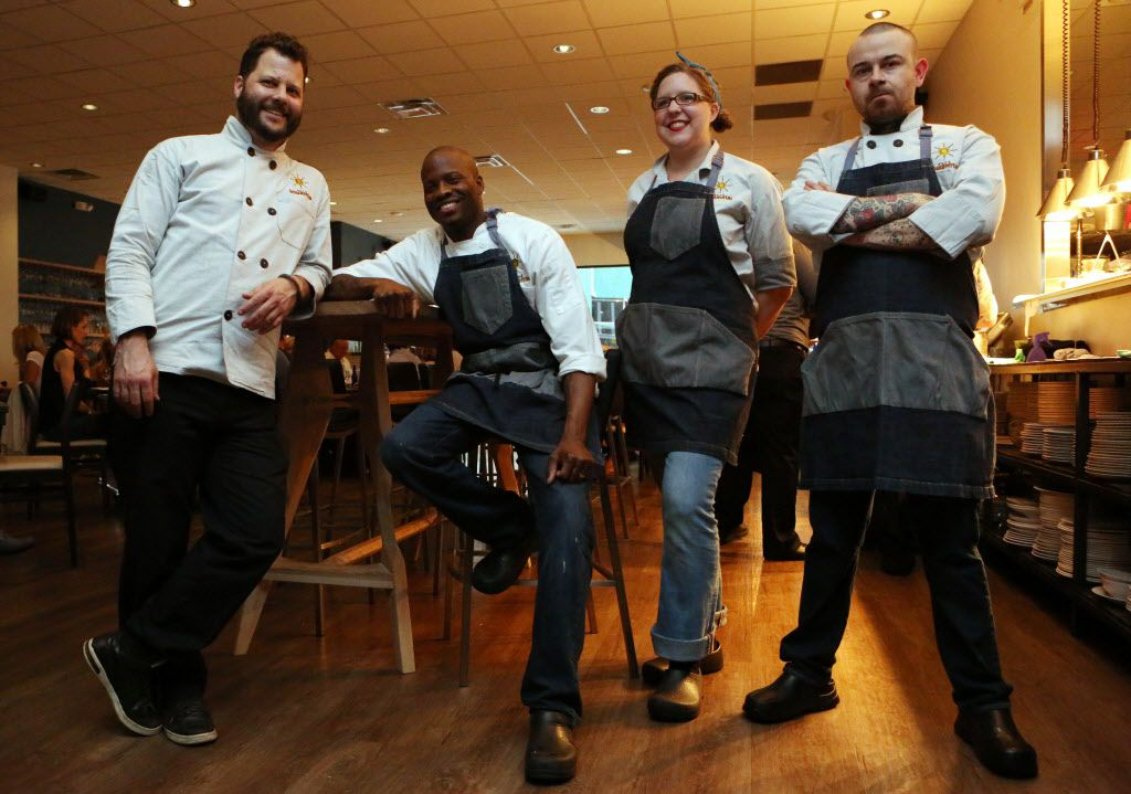 Cafe Momentum's leadership team includes (left to right) executive director and executive chef Chad Houser, chef de cuisine Eric Shelton, pastry chef Sarah Green and executive sous chef Justin Box. They oversee the kitchen, train the kids and serve as mentors.