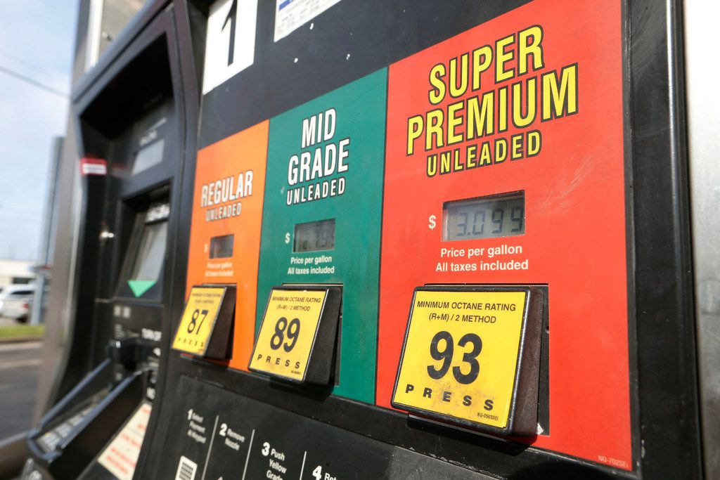 Gas pumps at the 7-11 on the corner of N Zang and E Colorado and in Dallas on on April 12, 2018.  (Nathan Hunsinger/The Dallas Morning News)