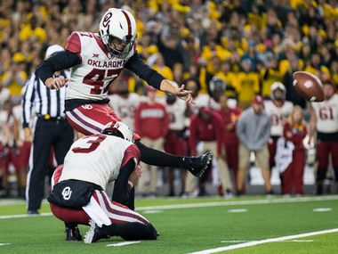 Oklahoma Sooners place kicker Gabe Brkic (47) kicks the winning field goal during the fourth quarter of an NCAA football game between Baylor University and Oklahoma University on Saturday, November 16, 2019 at McLane Stadium in Waco, Texas. Oklahoma Sooners won 34-31. (Ashley Landis/The Dallas Morning News)