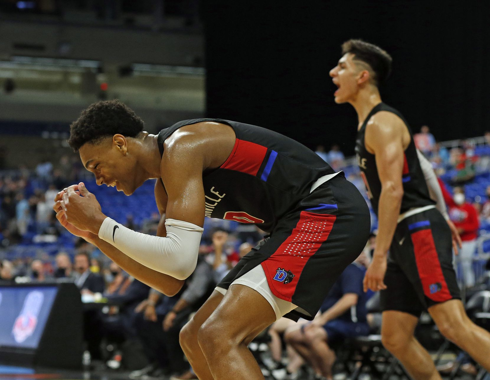 Duncanville Zhuric Phelps #0 reacts at the end of the game. UIL boys Class 6A basketball state championship game between Duncanville and Austin Westlake on Saturday, March 13, 2021 at the Alamodome.
