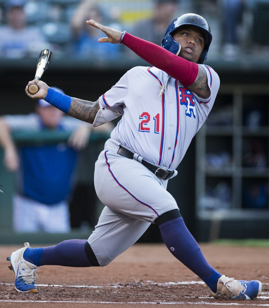 Round Rock Express left fielder Willie Calhoun swings at a pitch during a match-up between the Express and the Oklahoma City Dodgers at Chickasaw Bricktown Ballpark on Monday, August 14, 2017 in Oklahoma City, Oklahoma. (Ryan Michalesko/The Dallas Morning News)