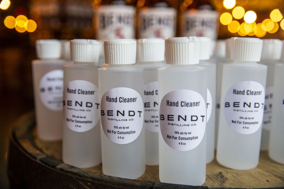 Bottles of hand cleaner at Bendt Distilling Co. in Lewisville (Lynda M. Gonzalez/Staff Photographer)
