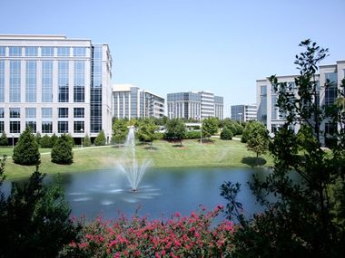 The more than 20-year-old Hall Park in Frisco has 17 office buildings.