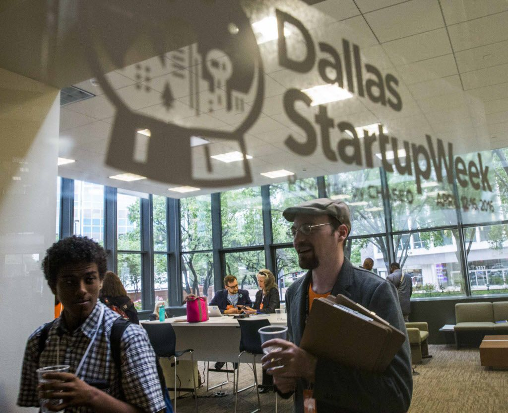 Participants work in a lounge area during Dallas Startup Week activities on Tuesday, April 12, 2016 at 1700 Pacific Avenue in Dallas.  (Ashley Landis/The Dallas Morning News)