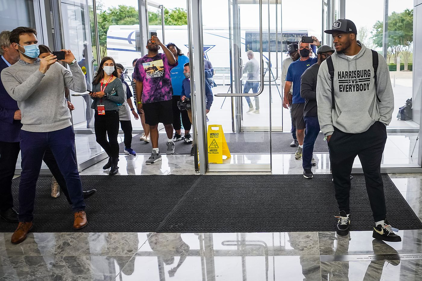 Dallas Cowboys first-round draft pick Micah Parsons, a linebacker from Penn State, arrives with his family at The Star on Friday, April 30, 2021, in Frisco. (Smiley N. Pool/The Dallas Morning News)