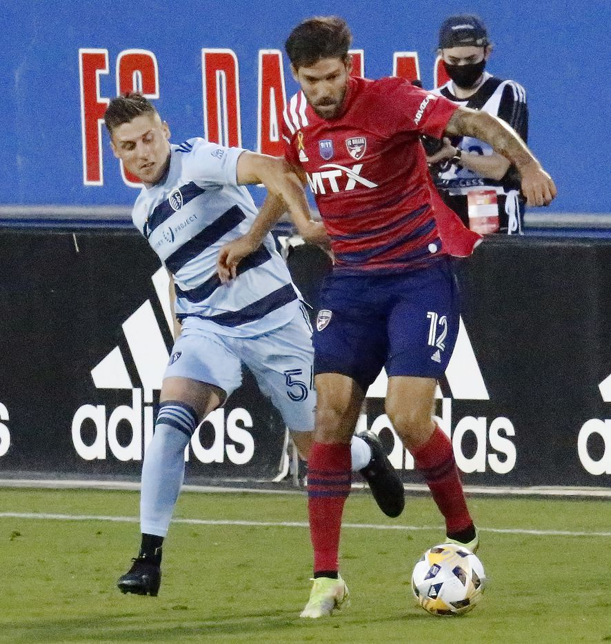 FC Dallas midfielder Ryan Hollingshead (12) shields Sporting Kansas City midfielder Remi Walter (54) from the ball during the first half as FC Dallas hosted Sporting Kansas City at Toyota Stadium in Frisco on Wednesday, September 29, 2021. (Stewart F. House/Special Contributor)