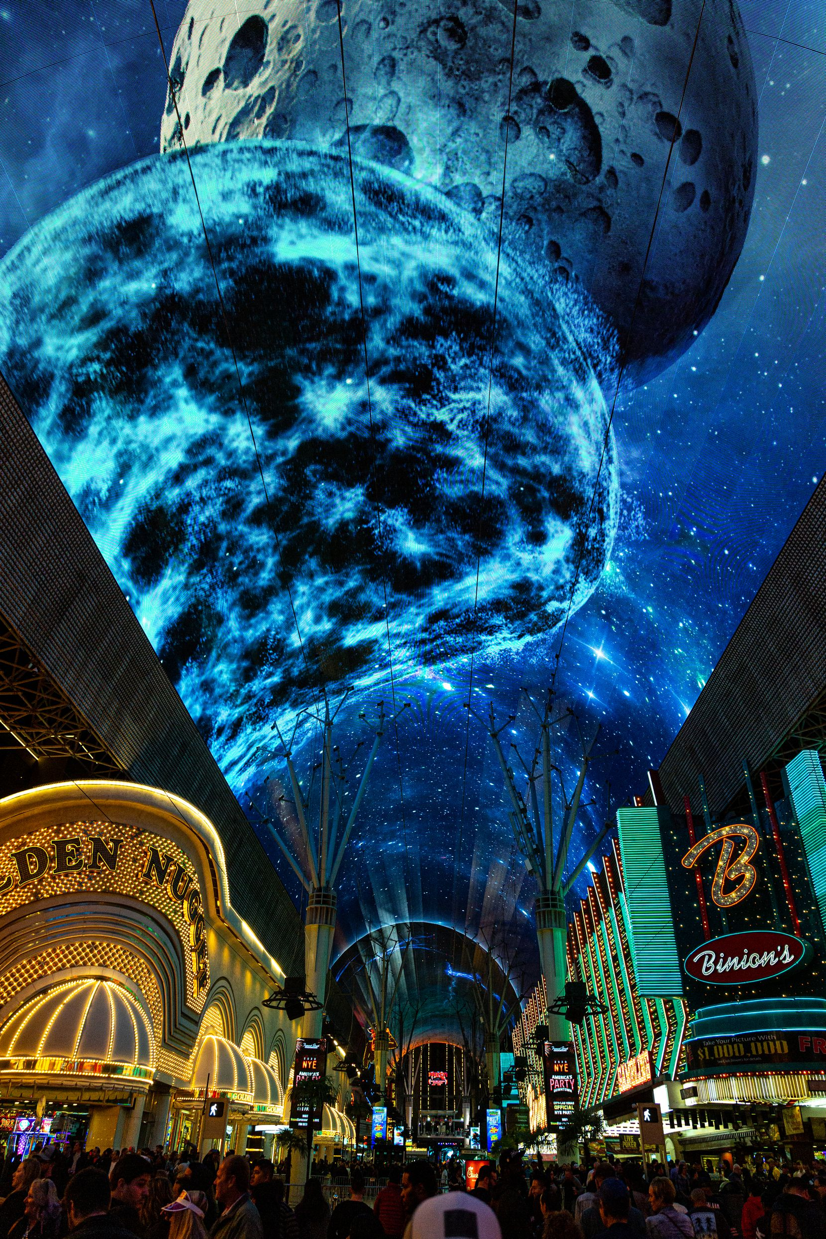 The Fremont Street Experience has debuted a new collection of 3-D graphics on its upgraded Viva Vision canopy screen.