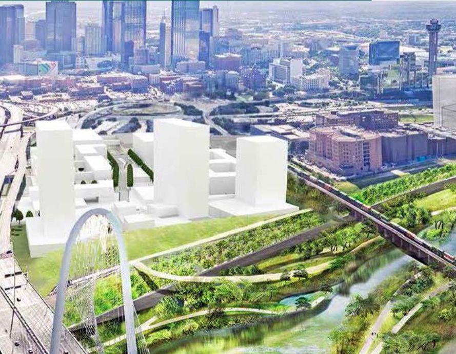 Previous plans for the property envisioned high-rise apartment, hotel and office buildings overlooking the Trinity River.