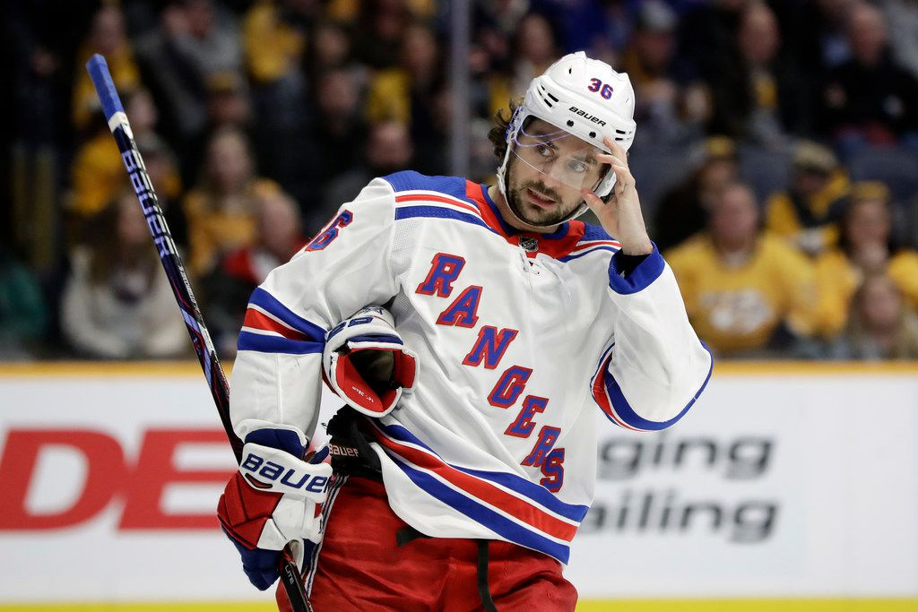 New York Rangers right wing Mats Zuccarello, of Norway, plays against the Nashville Predators in the third period of an NHL hockey game Saturday, Dec. 29, 2018, in Nashville, Tenn. The Rangers won 4-3. (AP Photo/Mark Humphrey)